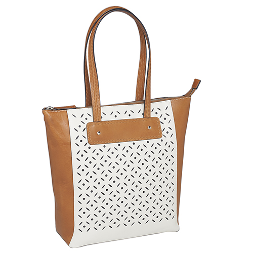 Cut-Out Two Tone Cowhide Shopper